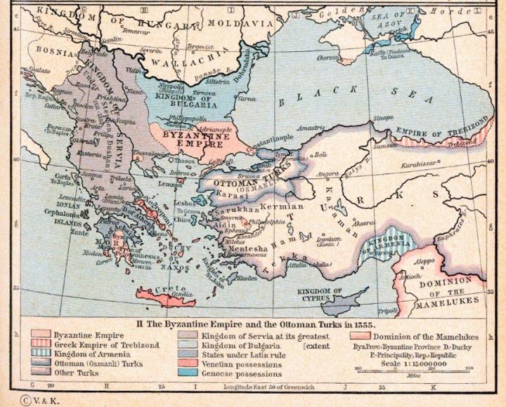 The Byzantine Empire, 1265-1355. The Byzantine Empire and the Ottoman Turks in 1355.