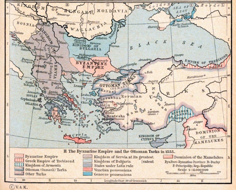 The Byzantine Empire, 1265-1355. The Byzantine Empire and the Ottoman Turks in 1355.